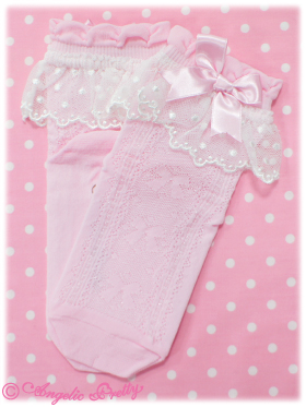 Make your own cute socks by sewing lace and bows to the top. (Image courtesy of Angelic Pretty).
