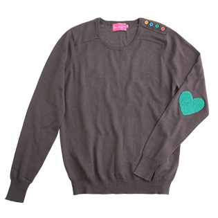 Now you can really wear your heart on your sleeve with this sweet casual top.